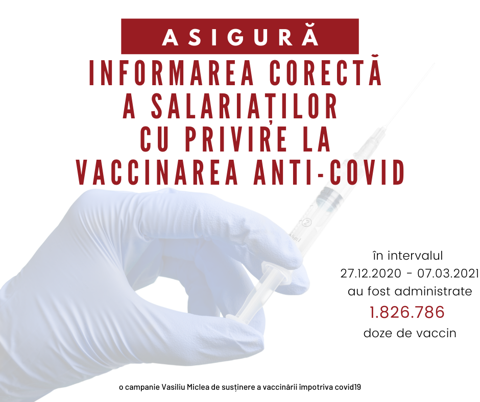 Asigură informarea corectă a salariaților cu privire la vaccinare